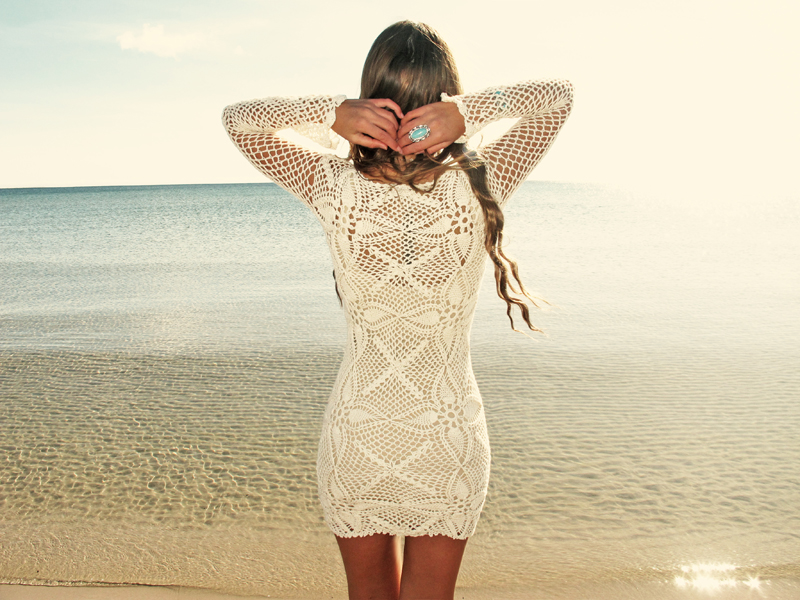 Emmaoclothing Handmade Crochet Long Sleeve Dress Beige