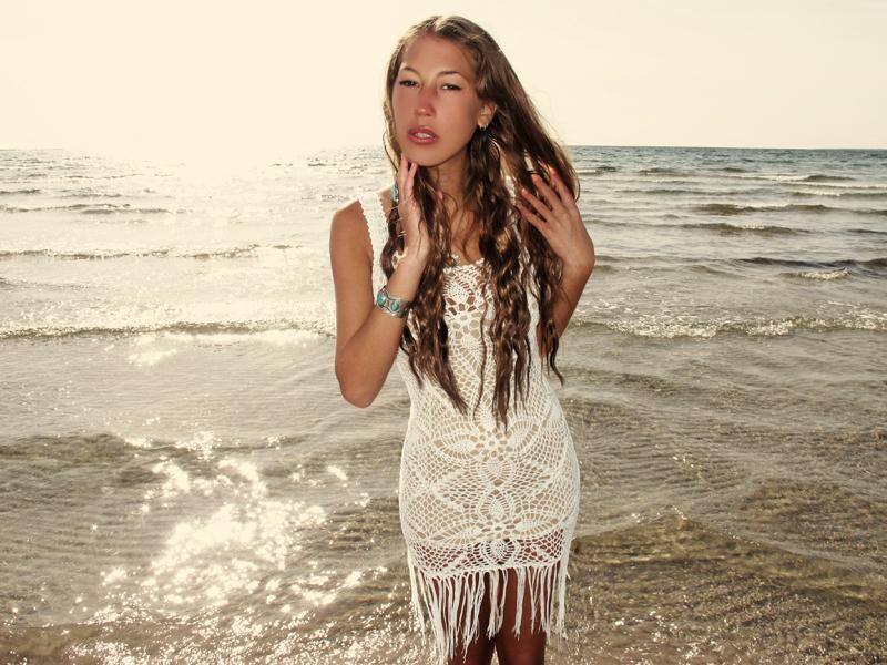 f63e764f904b3 Handmade crochet fringe dress WHITE