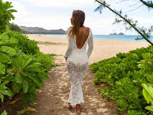 Handmade crochet open back wedding dress WHITE