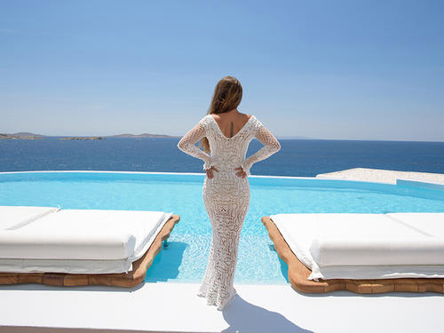 Handmade crochet long sleeve wedding dress WHITE