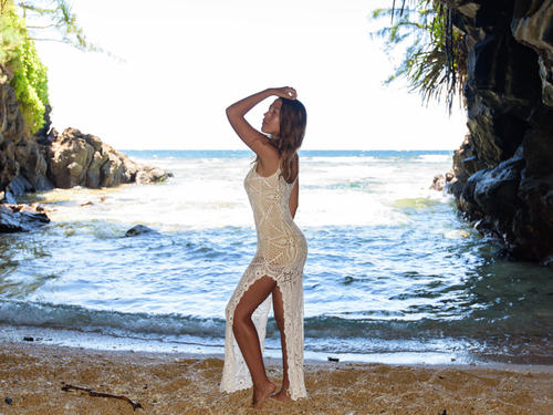 Handmade crochet open leg wedding dress WHITE