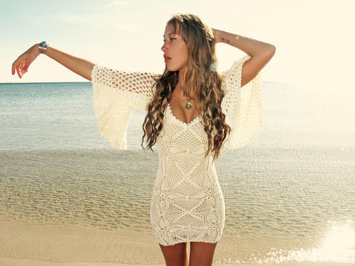 Handmade crochet loose sleeve dress BEIGE