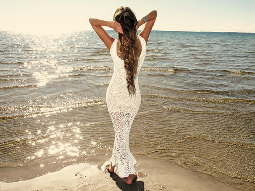 Handmade crochet wedding dress WHITE