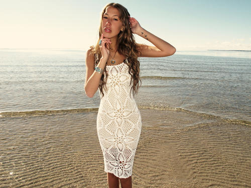Handmade crochet knee length dress WHITE