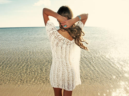 Handmade crochet over-size dress WHITE