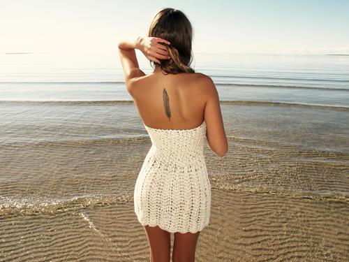 Handmade crochet strapless dress BEIGE