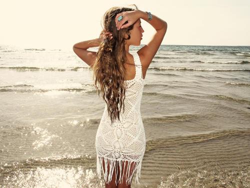 Handmade crochet fringe dress WHITE